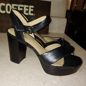 Michael Kors Leather Block Heel Sandal